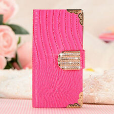 For Apple Samsung LG Sony Fashion Bling Rhinestone Case Leather Cover Wallet