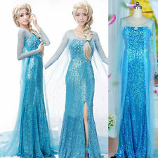 Frozen Princess Queen elsa Adult Glitter Jewel Dress Cape Costume back Zipper #