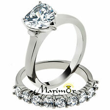 2.7 Ct Heart Cut Cubic Zirconia Stainless Steel Wedding Ring Set Women's Sz 5-10