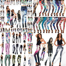 100 Punk Funky Women HELL YEAH/TOASTIES AMMO GYM Printed Pants Tights Jeggings