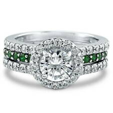 BERRICLE Sterling Silver Round CZ Halo Engagement Wedding Insert Ring Set