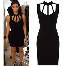 New Celebrity High Neck Cut Out Caged Bust Bodycon Party Evening Dress