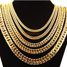 6/8/10/12mm Stainless Steel 18k Gold Mens Link Smooth Curb Cuban Chain Necklace