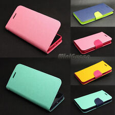 Dual Color Leather Case Flip Stand Card Slot Wallet Cover for Various LG Phone