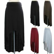 Ruched Side Waistband High Low Hem Skirt Solid and Plain Poly Rayon Span S M L