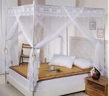 Lace 4 Corners Bed Canopy Mosquito Net Twin-XL Full Queen Cal King All Sizes