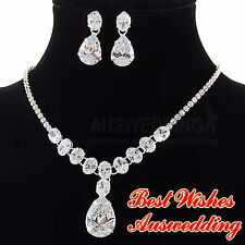 Teardrop Wedding Bridal SWAROVSKI Crystal Necklace Earrings Set Silver Plated