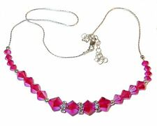 HOT PINK Crystal Necklace Light Siam Red 2X Sterling Silver Swarovski Elements
