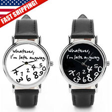 NEW Whatever I'm Late Anyway Unisex Leather Watch USA Womens Mens Ladies Fashion