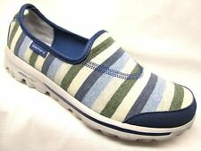 Skechers Go Walk-Stripy Slip On Walking Shoes Womens Navy