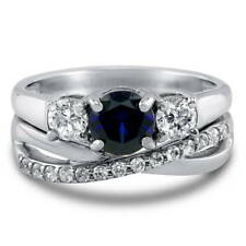 Silver Simulated Sapphire CZ 3-Stone Infinity Engagement Ring Set 1.55 CT