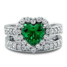 Silver Heart Shaped Simulated Emerald CZ Halo  Engagement Ring Set 2.82 CT