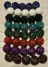 20pcs x 14mm Coloured Crystal Disco Ball Beads for Shamball Bracelets
