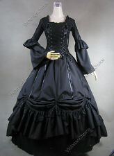 Medieval Renaissance Gothic Black Dress Period Gown Reenactment Steampunk 112