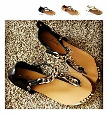 New CHA Women T-Strap Gladiator Thong Chain Flat Flip Flops Sandals Shoes Size