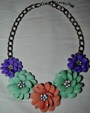 5, TRICOLOR BEADED FLOWERS, CLEAR RHINESTONE CENTERS ON CHAIN CHOKER NECKLACE