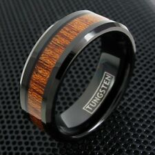 Black Tungsten Men's Brown Wood Grain Stripe Band Ring Size 9-13