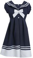 Bonnie Jean Girls Navy White Collar Nautical Sailor Easter Holiday Dress 7 - 16