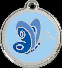 RED DINGO - PERSONALIZED DOG ID TAG CHARM - LIFETIME GUARANTEE - BLUE BUTTERFLY