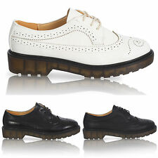 WOMENS FLAT CASUAL LACE UP LADIES PLATFORM VINTAGE BROGUE WORK SHOES SIZE 3-8