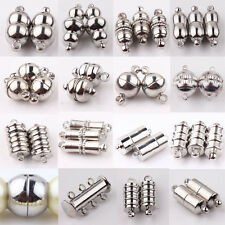 10Pc Silver Plated Rectangle Round Strong Magnetic Clasps Hook Jewelry Making