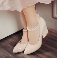 Women's Pointed toe wedge heel Prom dress Cuban high heel shoes patent leather