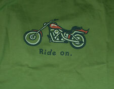 NWT Men's Life is Good Ride On Motorcycle Bike Green SS Crusher Tee