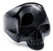 316L Stainless Stee Black Plated Skull Biker Fine Ring Size 7 8 9 10 11 12 13 14