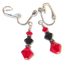 JET BLACK & LIGHT SIAM RED Crystal Earrings Sterling Silver Swarovski Elements