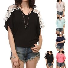 Lace Crochet  Shoulder Inset Flyaway Short Sleeve Top Shirt Rayon Spandex S M L