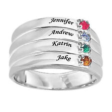 Mothers Birthstone Stack-Look Family Ring in Sterling Silver(2-4 Names & Stones)