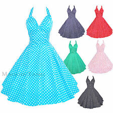Maggie Tang 50s VTG Polka Dots Housewife Rockabilly Pinup Party Dress S-501