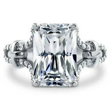 BERRICLE Sterling Silver Emerald Cut CZ Solitaire Engagement Ring 6.72 Carat