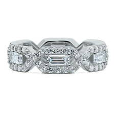 BERRICLE Sterling Silver CZ Art Deco Anniversary Eternity Band Ring 3.15 Carat