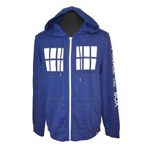 Official Doctor Who Blue TARDIS Zip-Up Hoodie Hooded Top - BBC Retro Police Box