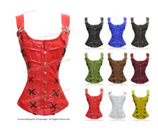 #H8039 Genuine Leather Full Steel Boned Heavy Lacing Overbust Shaper Corset
