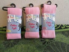 NWT~ LITTLE GIRLS TIC TAC TOE PINK COTTON STRETCH TIGHTS. 3 SIZES- AGES 2-8.