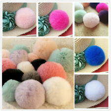 6cm Luxury Warm Soft Real Genuine REX Rabbit Fluffy Fur Ball Keyrings Handbag