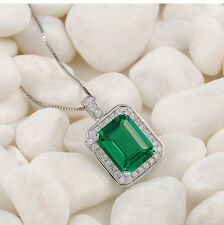 New 3CT Green Emerald White Sapphire 925 Sterling Silver Pendant Chain Necklace