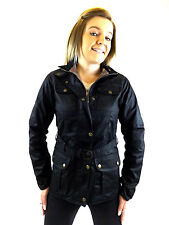 Campbell Cooper New Ladies Fitted Wax Cotton Belted Jacket Black 8 10 12 14 16