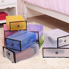 Plastic Stackable Foldable Shoe Organizer Home Tidy Storage Case Container Box