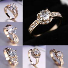 Women Brand New Jewelry Gold Plated white Sapphire Engagement Ring Size8 Gift