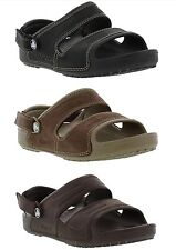 New Crocs Yukon 2 Strap Sandal Black Brown Mens Leather Shoes Size UK 8-13