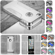 Luxury Brushed Aluminum Chrome Hard Case Cover For iPhone 4S 4 Screen Protector