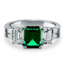 BERRICLE Silver Emerald Simulated Emerald CZ 3-Stone Engagement Ring 3.89 Carat