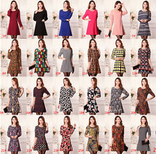 Hot! Large size women's clothing 2015 autumn spring dress everyday printing lady