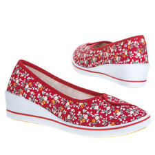 Ladies Floral Canvas Pumps Flowery Slip On Summer Ballet Shoes Size UK 3-9 Red