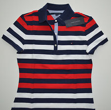 NWT Women's Tommy Hilfiger Short Sleeve Polo Shirt, Blue, Red, White XS, S, M, L