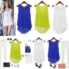 Womens Summer Loose Casual Chiffon Sleeveless Vest Shirt Tops Blouse Ladies Top