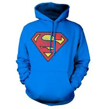 Official DC Comics Superman Distressed Retro Logo Hoodie - Hooded Sweater Top